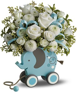 MiGi's Baby Elephant Bouquet by Teleflora - Blue in Warwick RI, Yard Works Floral, Gift & Garden