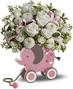 MiGi's Baby Elephant Bouquet by Teleflora - Pink in Warwick RI, Yard Works Floral, Gift & Garden