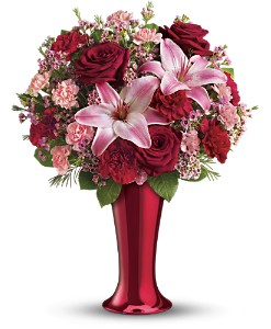Teleflora's Red Hot Bouquet in Houston TX, Village Greenery & Flowers