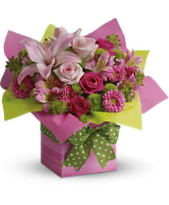 Teleflora's Pretty Pink Present in Tuckahoe NJ, Enchanting Florist & Gift Shop
