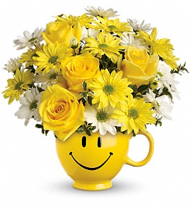 Teleflora's Be Happy Bouquet with Roses in New Glasgow NS, McKean's Flowers Ltd.