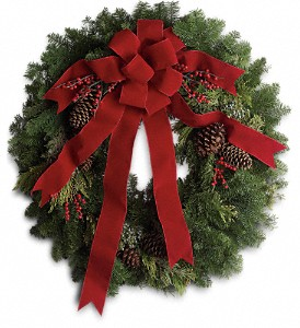 Classic Holiday Wreath in Amherst NY, The Trillium's Courtyard Florist