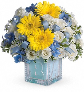 Baby's First Block by Teleflora - Blue in Murrieta CA, Michael's Flower Girl