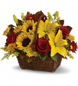 Golden Days Basket in Beaumont TX, Blooms by Claybar Floral