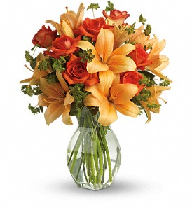 Fiery Lily and Rose in Beaumont TX, Blooms by Claybar Floral