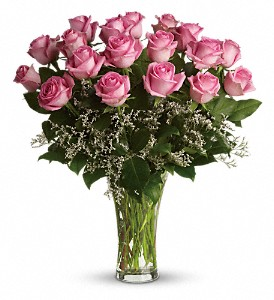Make Me Blush - Dozen Long Stemmed Pink Roses in Denville NJ, Flowers by CandleLite