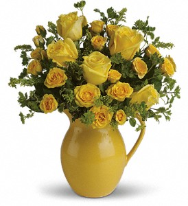 Teleflora's Sunny Day Pitcher of Roses in Jersey City NJ, Entenmann's Florist