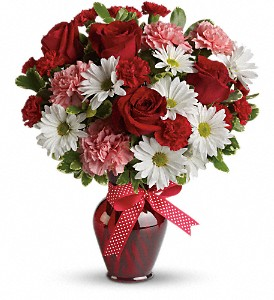 Hugs and Kisses Bouquet with Red Roses in Lawrence MA, Branco the Florist