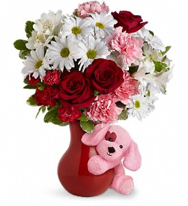 Send A Hug Puppy Love Bouquet with Red Roses in Royal Oak MI, Rangers Floral Garden