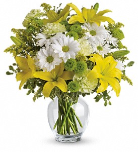 Teleflora's Brightly Blooming in Dubuque IA, New White Florist