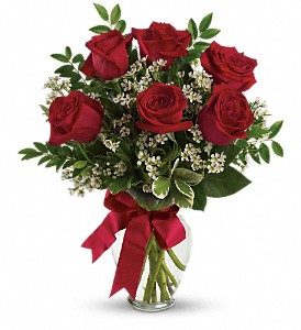 Thoughts of You Bouquet with Red Roses in Lewiston ME, Val's Flower Boutique, Inc.