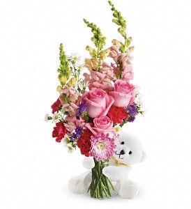 Teleflora's Bear Hug Bear with Pink Roses in Marshall MI, Rose Florist & Wine Room