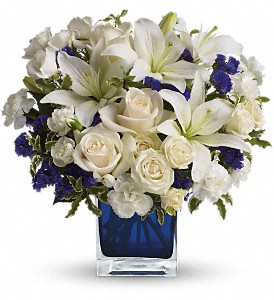 Teleflora's Sapphire Skies Bouquet in Amherst NY, The Trillium's Courtyard Florist