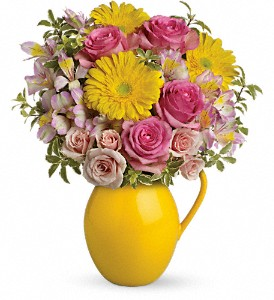 Teleflora's Sunny Day Pitcher Of Charm in Nutley NJ, A Personal Touch Florist