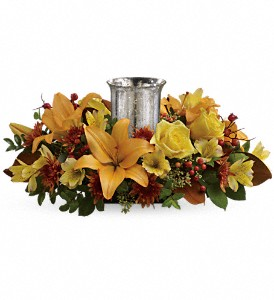 Glowing Gathering Centerpiece by Teleflora in Murrieta CA, Michael's Flower Girl