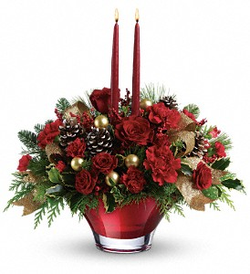 Teleflora's Holiday Flair Centerpiece in Liverpool NY, Creative Florist