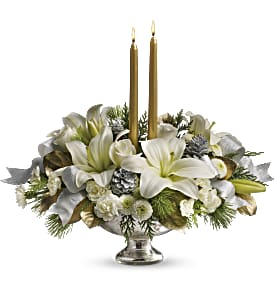 Teleflora's Silver And Gold Centerpiece in Morgantown WV, Coombs Flowers