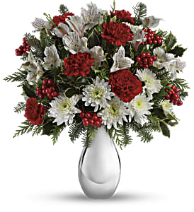Teleflora's Silver And Snowflakes Bouquet in St. Petersburg FL, The Flower Centre of St. Petersburg