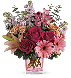Teleflora's Painterly Pink Bouquet in Eugene OR, The Shamrock Flowers & Gifts