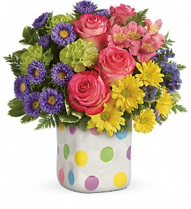 Teleflora's Happy Dots Bouquet in San Bruno CA, San Bruno Flower Fashions