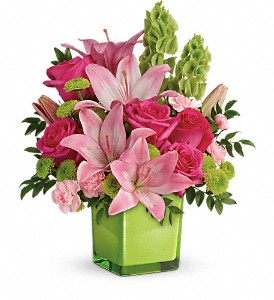 Teleflora's In Love With Lime Bouquet in Orlando FL, Harry's Famous Flowers