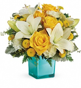Teleflora's Golden Laughter Bouquet in Amherst NY, The Trillium's Courtyard Florist