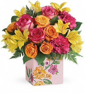 Teleflora's Painted Blossoms Bouquet in Rochester NY, Red Rose Florist & Gift Shop