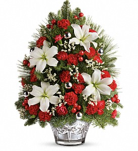 Teleflora's Festive Trimmings Tree in Oklahoma City OK, Array of Flowers & Gifts