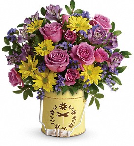 Teleflora's Blooming Pail Bouquet in San Bruno CA, San Bruno Flower Fashions