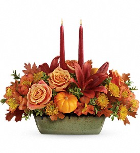 Teleflora's Country Oven Centerpiece in San Antonio TX, Spring Garden Flower Shop