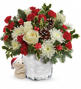 Send a Hug Bear Buddy Bouquet by Teleflora in Toppenish WA, Alice's Country Rose Floral