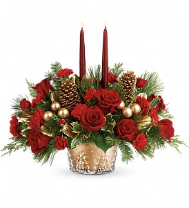 Teleflora's Festive Glow Centerpiece in Hornell NY, Doug's Flower Shop
