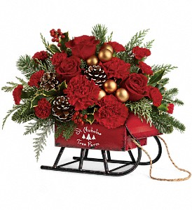 Teleflora's Vintage Sleigh Bouquet in Belford NJ, Flower Power Florist & Gifts