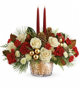 Teleflora's Winter Pines Centerpiece in Fountain Valley CA, Magnolia Florist