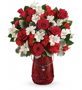 Teleflora's Red Haute Bouquet in Fontana CA, Mullens Flowers