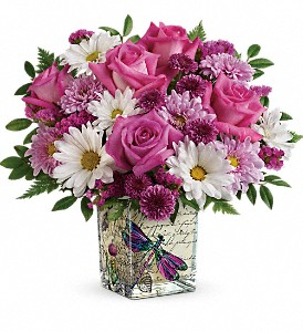 Teleflora's Wildflower In Flight Bouquet in Peterborough ON, Rambling Rose Flowers