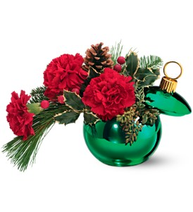 Teleflora's Merry Green Ornament Jar in Gaithersburg MD, Flowers World Wide Floral Designs Magellans