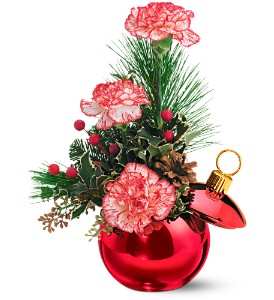 Teleflora's Merry Red Ornament Jar in Gaithersburg MD, Flowers World Wide Floral Designs Magellans