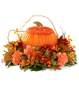 Teleflora's Art Glass Pumpkin in Jupiter FL, Anna Flowers