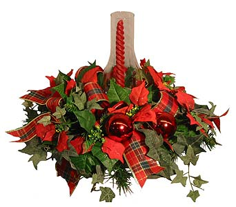 HA-2395 ''Traditional Christmas Artificial Centerpiece'' in Oklahoma City OK, Array of Flowers & Gifts