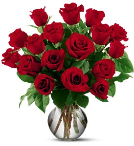 18 Red Roses in Wethersfield CT, Gordon Bonetti Florist