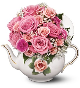 Teleflora's Capodimonte Teapot Bouquet in Hopkinsville KY, Arsha's House Of Flowers