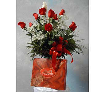 Dozen Roses with Chocolate in Mundelein IL, Debbie's Floral Shoppe