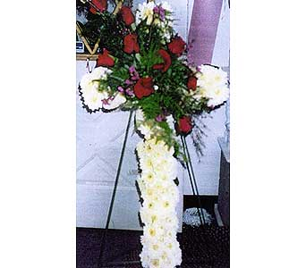 Cross for funeral of white poms and bouquet of red roses in Sioux Falls SD, Country Garden Flower-N-Gift