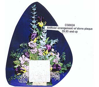 artificial arrangement w/stone plaque in Sioux Falls SD, Country Garden Flower-N-Gift