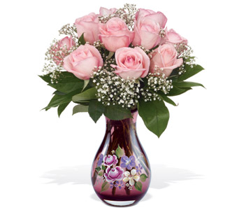 Teleflora's Roses and Fenton Art Glass Bouquet in Hollister CA, Precious Petals