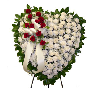 White Carnation Heart in Bayside NY, Bell Bay Florist