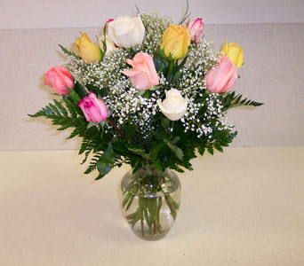 A Dozen Multi-Color Roses in Bayside NY, Bell Bay Florist