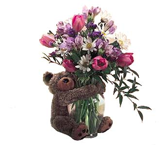 FF40 ''Bear Hugs'' Vase Arrangement in Oklahoma City OK, Array of Flowers & Gifts