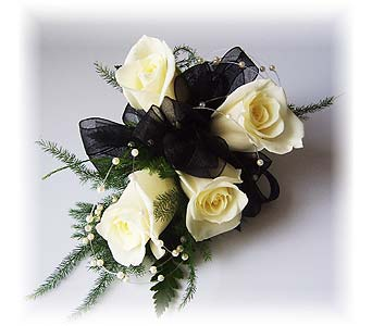 The Black and White Ball Wrist Corsage in Wyoming MI, Wyoming Stuyvesant Floral